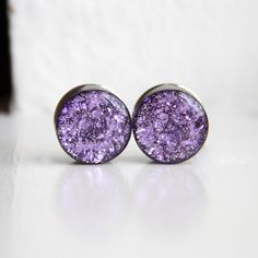 3/4 Purple Ear Gauges, Sparkly Plugs, OOAK, Purple Glitter Gauges, Large Girl Plugs - size 3/4. $24.00, via Etsy.