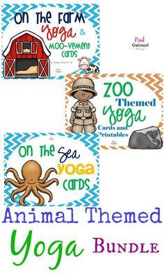 Bundle of Yoga Cards with Zoo Animal, Farm Animal, and Sea Animal Theme!  Awesome set!