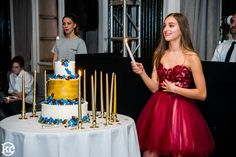 Candle Lighting with cake at center.