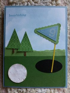 Masculine golfer's card made with Stampin Up products.                                                                                                                                                                                 More