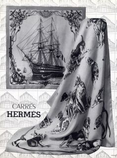 Hermes Carres .1959 // L'Ocean and Vaisseau Dogs Hermes Bolide, Silk Scarves, Hermes Scarves, Retro Advertising, Hermes Bags, Carven, Signature Style, Scarf Styles, Vintage Accessories
