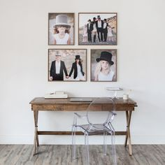 Love these rustic frames, so simple, makes me sad that I sold this same campaign desk, it's a beauty!