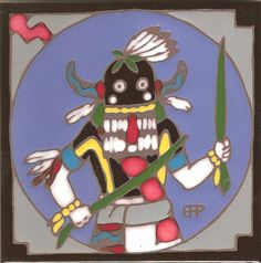 Hopi Indian Whipper Kachina Hand Painted by PacificBlueTile, $29.95