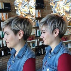 Lovin' this versatile rooty blonde undercut pixie! Colour and cut by Sara…