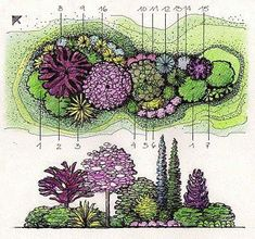 Garden drawing sketch 36 New Ideas - Garten 2019 Landscape Architecture Drawing, Landscape Sketch, Landscape Design Plans, Garden Design Plans, Landscape Drawings, Landscape Art, Architecture Images, Garden Drawing, Plant Design