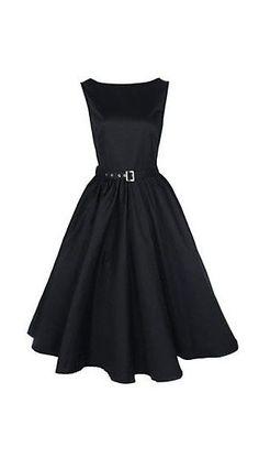 Women's Boat Neck Vintage Sleeveless Rockabilly Swing Audrey Retro Dress - I…