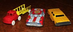 Vintage Toy Cars, Circa 1950s (Yellow - Marx, Japan) (Police - Made in Japan) (Truck - Wannatoys - USA)   Flickr - Photo Sharing!