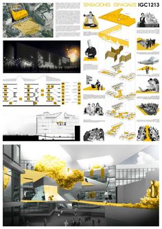 Order of the content is not rare to see boards presentation architecture student projects - and many time even architects with years of experience - to try to present the information - plans, sections Interior Design Presentation, Architecture Presentation Board, Project Presentation, Presentation Layout, Presentation Boards, Architectural Presentation, Architectural Models, Architectural Drawings, Architecture Panel
