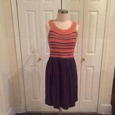 Anthropologie, HD in Paris Knit top dress. Knee length. Size L. Zip back goes to waist. New without tags. Anthropologie Dresses