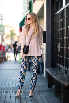 Retro inspired harem pants paired with a simple knit.