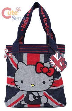 7d0bac0ac4e4 I found  Sanrio Hello Kitty UK Denim Tote Hand Bag -Shoulder Bag -Loungefly