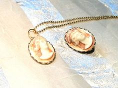 Vintage Goddess Cameo Necklace & Brooch Roman Bust Sculture in High Relief