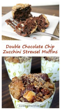 Double Chocolate Chip Zucchini Streusel Muffins OMG….Kicking It With Kelly blog has upped the zucchini muffin to a whole new level!! Get the directions and more photos by heading -> -> …