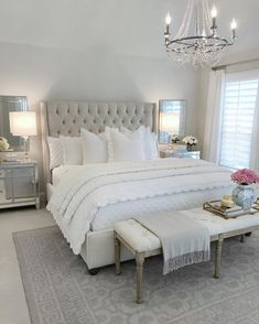 25 Exquisitely Admirable Modern French Bedroom Ideas To Steal. modern french bedroom Check out these fascinating modern French bedroom ideas to bring the style of your home to a whole new level! Master Bedroom Design, Dream Bedroom, Home Decor Bedroom, Bedroom Designs, French Bedroom Decor, Bedroom Decor Elegant, French Style Bedrooms, Bedroom Sets, Light Master Bedroom