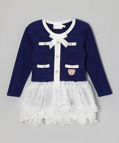 Look what I found on #zulily! Dark Blue Bow Skirted Dress - Toddler & Girls by Blossom Couture #zulilyfinds