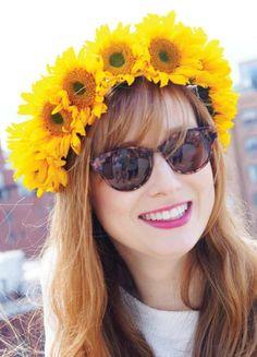 Sunflower Flower Crown #flowercrown #diyflowercrown #diy