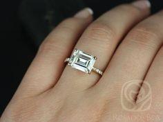 Becca 10x8mm 14kt Rose Gold Emerald FB Moissanite by RosadosBox