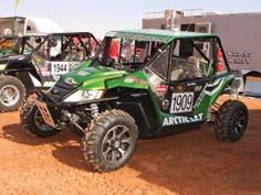 This great looking Arctic Cat Wildcat was ready for desert racing.  Inside the custom cab were an on-board GPS system, racing seats, a five point harness restraint system, and window nets.