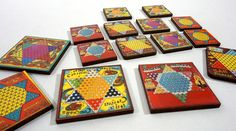 Wood Chinese Checker Embellishments - Collection of 15 Laser Cut Craft Parts