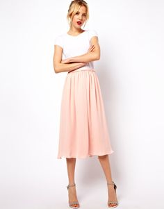 <<< ASOS Mango full midi skirt - $26 // I love this! My dress size is a 12. mad it's out of stock. again. ugh.