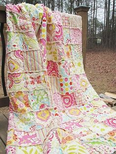 Twin Size Quilt, Rag, Kumari Garden in pink, butterflies, ALL NATURAL, fresh modern handmade. $249.00, via Etsy.