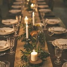 fabulous vancouver wedding union inspo ~ greenery and candlelight make for quite a romantic tablescape  Photographer and styling unknown.  #vancouverwedding #vancouverwedding