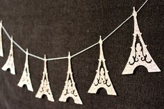 Eiffel Tower Garland - Paris Decoration - Eiffel Tower Bunting - Wedding Decoration - Glitter Decor - France - Bridal Shower - Champagne