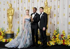"""Jake Gyllenhaal and Rachel McAdams Photos Photos - Screenwriter Geoffrey Fletcher (C), winner of Best Adapted Screenplay award for """"Precious: Based on the Novel 'Push' by Sapphire,"""" poses with presenters Rachel McAdams and Jake Gyllenhaal in the press room at the 82nd Annual Academy Awards held at Kodak Theatre on March 7, 2010 in Hollywood, California. - 82nd Annual Academy Awards - Press Room"""