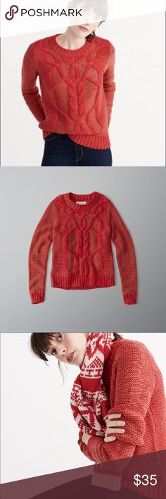 Abercrombie & Fitch cable knit sweater. NWT Brand New cable knit sweater in red and gold. Abercrombie & Fitch Sweaters