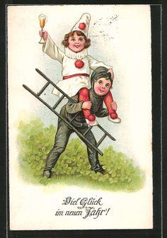 Alte Ansichtskarte: AK Neujahrsgrüße, Feierndes Mädchen wird von einem Schornsteinfeger getragen