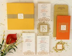 Looking for orange and yellow bright summery wedding invitation cards? Browse of latest bridal photos, lehenga & jewelry designs, decor ideas, etc. Invitation Suite, Wedding Invitation Cards, Wedding Cards, Invites, Wedding Invitation Inspiration, South Asian Wedding, Wedding Pics, Save The Date, Stationery