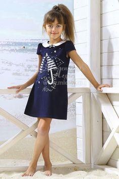 Летнее Платье для девочки из трикотажа хлопкового, цвет желтый