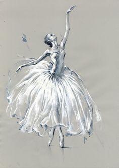 """'Ballet dancer' by Olga Sternyk Ballerina Kunst, Ballerina Drawing, Dancer Drawing, Ballet Drawings, Pencil Art Drawings, Art Sketches, Ballet Art, Ballet Dancers, Ballerina Painting"