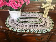 White and Spearmint Lace Doily  Farmhouse Decor  Handmade