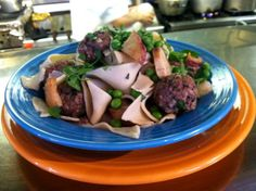 vegetarian or beef meatballs with wide noodle fresh pasta, potatoes, peas, onions in a white wine lemon sauce.