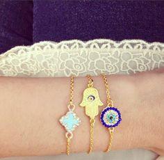 Clover, Evil Eye, + Hamsa for protection | Build Your Bracelet Now at LunaMarin.com