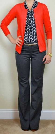 I like the pop of color of the cardigan paired with the print top.  I like the style/fit of these pants for work.