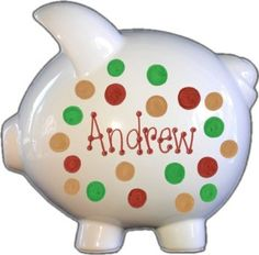 Hand Painted Personalized Jumbo Piggy Bank - Camo Dots Design