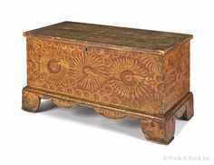 19th c PA poplar painted blanket chest - love the grain painting!