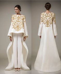 New Designer Ashi Studio Gold Embroidery Evening Dresses 2015 Party Dress White Satin Pattern Custom Made Formal Dresses-in Evening Dresses from Weddings & Events on Aliexpress.com | Alibaba Group