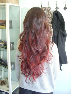 Image result for light brown and red ombre hair