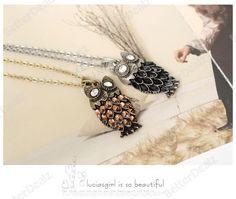 "1strand Korean style 28"" Retro Bronze Resin Night Owl Pendant Chain Necklace Style Fashion Gift"