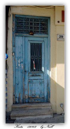 Deur 48, blauw, oud, Kreta