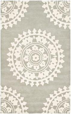 So pretty!  RugStudio presents Safavieh Soho SOH732K Light Grey / Ivory Hand-Tufted, Good Quality Area Rug
