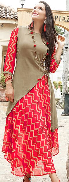 Buy Classy Beige-Red Designer Printed Georgette Kurti at Rs. 1699/- latest Partywear Kurti for womens at Ethnic Factory. ✓Genuine Products ✓ Easy Returns ✓ Best Pricing #Ethnicfactory #fairprice #ethnicwear #fashion #India #kurti