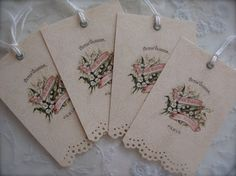 ~*~Le Printemps ~*~Springtime~*~A set of 4 handmade tags.....these are beautiful reprints of a vintage French perfume label. Petite Michelle Louise tags