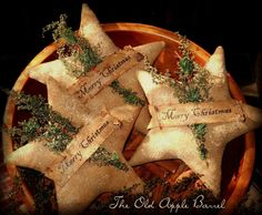 Primitive Christmas Stars Bowl Fillers Set of Three