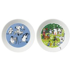 Limited edition plates featuring the illustrations from the Moomin mugs Blue