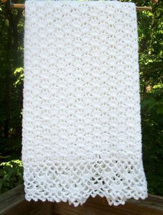 Crochet Blanket  White Baby Afghan with by sweetpeacollections, $25.00