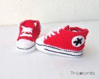 Allstar de ganchillo rojo  Patucos para bebes de crochet de color rojo y blanco